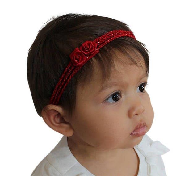 Christmas Baby Headband, Crochet Headband, Baby Girl Headband, Baby Headband, Red Headband, Flower Headband, Newborn Headband
