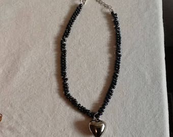 Handmade Black Necklace with Silver Tone Heart