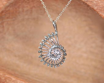 Ammonite necklace - silver shell necklace - spiral necklace - spiral necklace - sterling silver ammonite shell