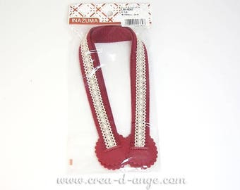 Bag handle decorative for creative sewing red with lace 40 cm