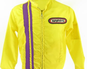Vintage 70s Official Racing Jacket Mens M Wynns Stripe Patches Yellow [H48O_0-10]