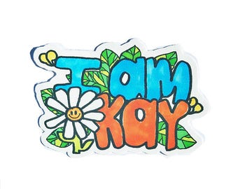 I'm Okay 2x3 Sticker - Affirmation wellbeing mental health awareness self care vintage 70s retro style art collectible limited edition
