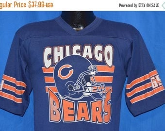 ON SALE 80s Chicago Bears Vintage Blue Orange Striped Football Jersey  t-shirt Small
