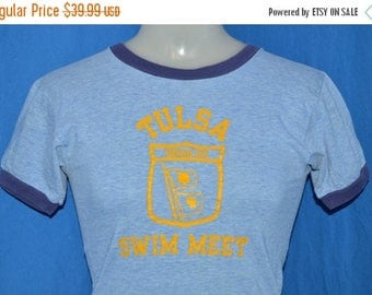 ON SALE 70s Tulsa Swim Meet Blue Ringer t-shirt Youth Large
