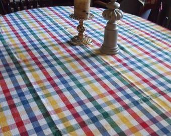 "Vintage Farmhouse Cotton 55""x77"" Tablecloth, RectangleTablecloth, Plaid Linen Tablecloth Shabby Chic Rustic Farmhouse Decor"