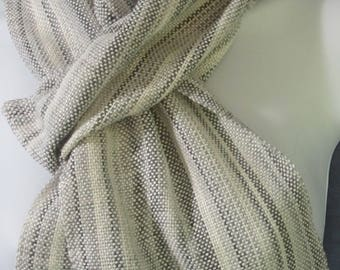 Monochrome - handwoven cotton and bamboo scarf