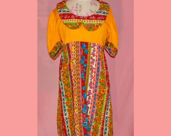 Super psychedelic bright colorful 60s summer dress