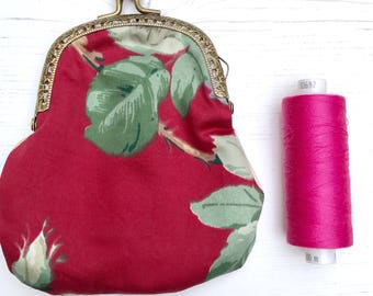 Red floral vintage cotton coin purse with antique gold metal clasp handsewn clasp purse wallet handmade by The Emperor's Old Clothes