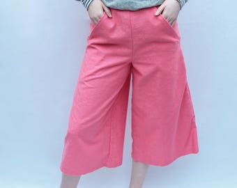 Geranium Pink cotton culottes in soft pastel pink UK Size Small 10-12 floral trousers flares handmade by The Emperor's Old Clothes