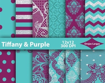 50% SALE Tiffany blue digital paper, purple paper pack, silver glitter lace, teal chevron, glitter damask, scrapbook paper, mint background,