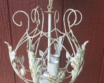 Vintage white metal shabby chic chandelier