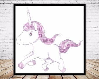 Personalised Word Art Gift Framed Print Unicorn Birthday Gift For Her Sister Friend Daughter Auntie Always be a Unicorn