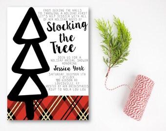 Stock the Tree Bridal Shower Invitation, Christmas Shower Invitation, Christmas Wedding Shower Invitation, Deck Their Halls, DIY or Printed