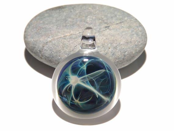 Glass Pendant - Sea Glass Super Nova - Glass Art - Universe Bead - Blown Glass Jewelry - Glass Necklace - Rare - Free Shipping