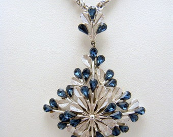 Vintage Crown Trifari Blue Tear Shaped Rhinestone ST Foliate Pendant Necklace