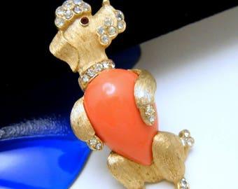 Crown Trifari Poodle Dog Brooch 1960s Faux Coral Lucite Cabochon Rhinestones