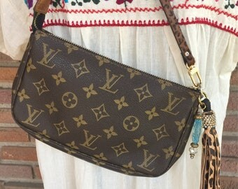 Authentic Louis Vuitton upcycled preloved Pochette with lots of sparkle!  Ready to ship!