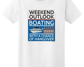 Funny Gift Weekend Outlook Boating With a Chance of Hangover Ladies T-Shirt 2000L - PP-928