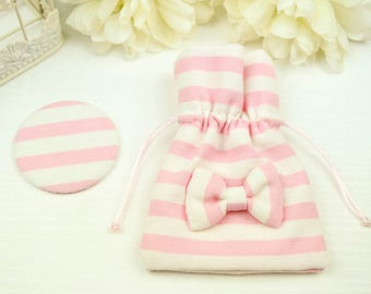 Pocket mirror with pouch covered with pink and white cotton