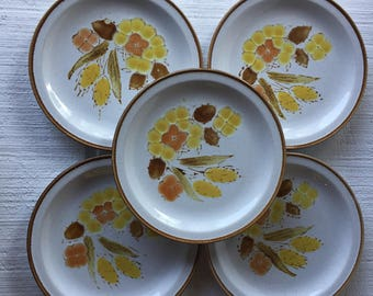 retro stoneware floral salad plates rushwood china japan stoneware dishes retro 70s stoneware plates