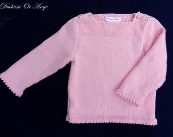 Pink cotton buttoned at shoulders - 2 years baby sweater