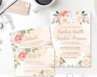 Wedding Invitation Suite Rsvp Thank you, Boho Romantic, Watercolor flowers Peach Pink Invitation Suite DIY, DIGITAL FILES, WS15