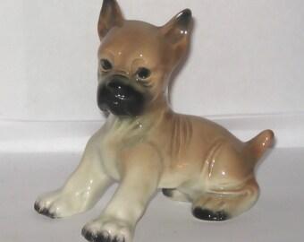 Erphila Germany 2661 Boxer Dog Puppy Animal Figurine Ceramic Sitting Fawn and Black