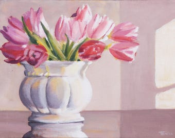 Afternoon Tulips, Floral, Original Painting, Framed Art