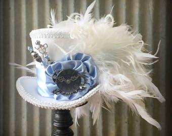 Mini top Hat, Baby Blue and White Mini Top Hat, White Rabbit, Alice in Wonderland Hat, Mad Hatter Hat, Steampunk Mini Top Hat, Kentucky Derb