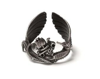 Viking ship seahorse cuff