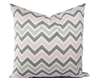 15% OFF SALE Two Chevron Decorative Throw Pillow Covers Baby Pink Grey and White - Throw Pillow Couch Pillow Cushion Cover Accent Pillow