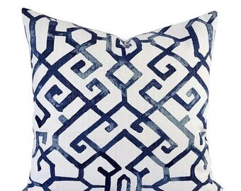 15% OFF SALE Two Blue Pillow Covers - Geometric Pillow Sham - Blue Throw Pillow - Blue Decorative Pillow - Navy Pillow Cover - Navy Pillow S