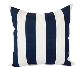 15% OFF SALE Two OUTDOOR Pillows - Striped Pillow Cover - Navy Pillow Cover - 20 x 20 Pillow Cover - 18x18 Pillow Cover - 16x16 Pillows - Pa