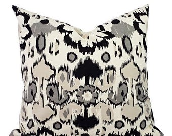 15% OFF SALE Two Black Pillow Covers - Black Ikat Decorative Pillows - Decorative Pillow Cover - Couch Pillow - Black Grey and Cream Pillow