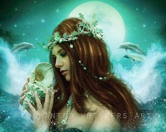 fantasy mermaid with dolphins portrait art print