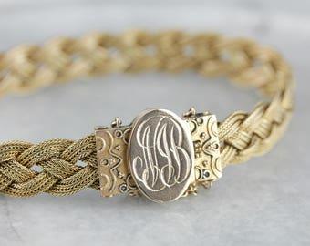 "Victorian Braided Gold Bracelet, Antique Mesh Bracelet, ""NJB"" Monogram Bracelet, Estate Jewelry TJR6M3-P"