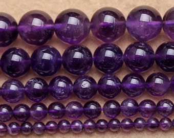 A, Amethyst Beads, Natural Amethyst Gemstone Beads, Purple Smooth Round Beads, 4mm 6mm 8mm 10mm 12mm 15''