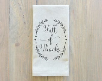 Full Of Thanks Napkin_table setting, tableware, place setting, housewarming gift, party, dinner, event, thanksgiving, fall