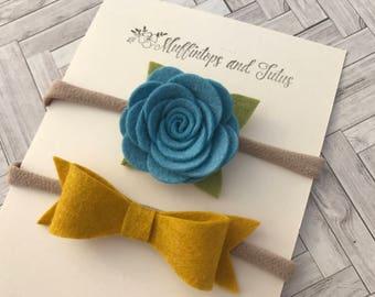Felt headband set - Nylon bands - Blue and mustard