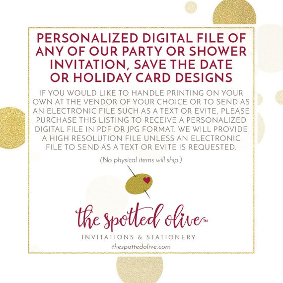 personalized digital file of any of our party or shower invitation