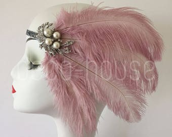 Dusty Pink Ostrich Feather Headband Headpiece Gatsby Wedding Hen Night Costume Dress Accessories