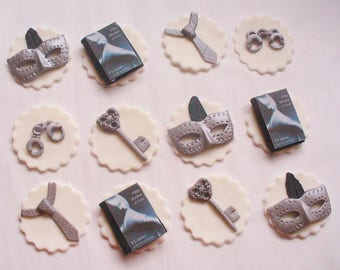 12 FIFTY SHADES of GREY Edible Fondant Cupcake Toppers