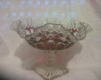 WESTMORELAND WATERFORD COMPOTE Ruby Ruffled Bowl