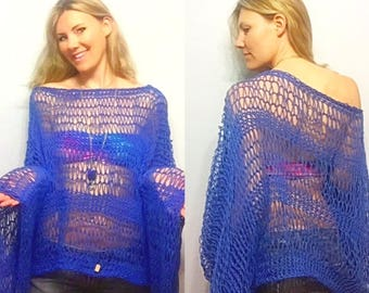 Royal Blue Beachside Breeze Sweater, Loose Knit Summer Poncho, Light Weight Sweater, Cotton Beach Sweater, Loose Knit Summer Knit, Coachella