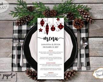 INSTANT DOWNLOAD - Wedding Menu Template - Christmas Dinner Printable Menu - Holiday Floral Menu - Red Plaid Menu - Editable Menu Card 0661