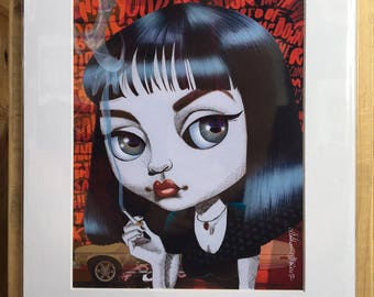 """Pulp Fiction's Mrs. Mia Wallace with Chevy Nova background Limited Edition 11x14"""" print"""