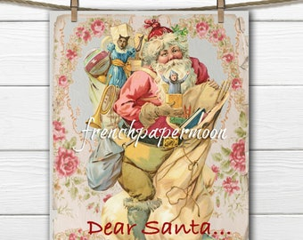 Shabby Pink Victorian Digital Santa, Dear Santa, Fabric Transfer, Christmas Pillow Image, Large Image, Graphic Transfer, Xmas Crafts