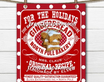 Printable Gingerbread Cookie Labels, Old Fashioned Cookies, Mrs Claus, Digital Download, ATC, Christmas Cookie Tags