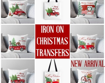 Christmas Transfer, Holiday Iron On, Pre-printed Transfer, Ready to Press, Iron on Fabric, Christmas Pillow, Gifts