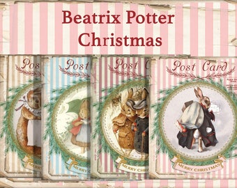 Beatrix Potter Christmas Bunnies, Digital Collage, Shabby Christmas Bunnies, Christmas Cards, Printable Christmas, Notecards, Gift Cards